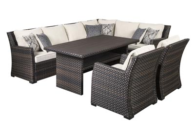 Easy Isle Dark Brown/Beige Multi-Use Table w/Sectional and 2 Lounge Chair