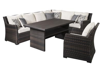 Easy Isle Dark Brown/Beige Multi-Use Table w/Sectional and Lounge Chair