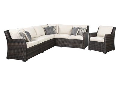 Easy Isle Dark Brown/Beige Sectional and Lounge Chair w/Cushion