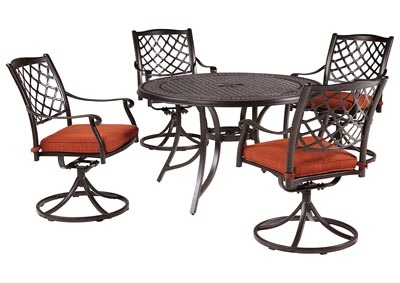Burnella Brown Round Dining Table w/4 Tanglevale Swivel Chair Cushion (Umbrella Option)