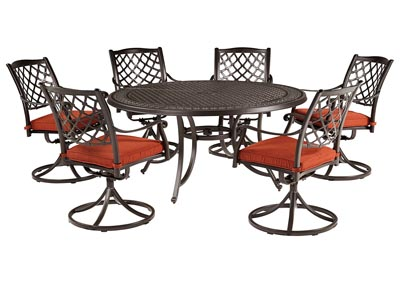 Burnella Brown Round Dining Table w/6 Tanglevale Swivel Chair Cushion (Umbrella Option)