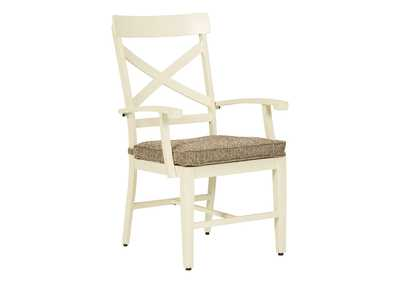 Preston Bay Antique White Arm Chair with Cushion (Set of 2)