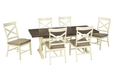 Image for Preston Bay Antique White Dining Table w/6 Chair and Umbrella Option