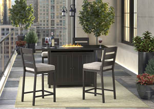 Perrymount Brown Rectangular Bar Table w/4 Barstools with Cushion