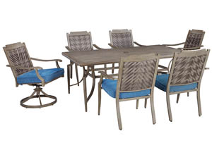 Partanna Blue/Beige Rectangular Dining Table w/4 Chairs & 2 Swivel Chairs