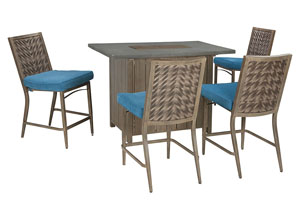 Partanna Blue/Beige Bar Table w/4 Barstools