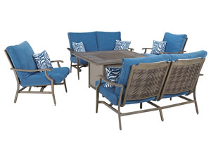 Partanna Blue/Beige Square Fire Pit Table w/2 Motion Lounge Chair and 2 Motion Loveseats