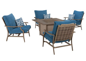 Superb Partanna Blue/Beige Square Fire Pit Table W/4 Motion Lounge Chairs