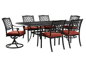 Tanglevale Burnt Orange Rectangular Extension Table w/4 Chairs & 2 Swivel Chairs