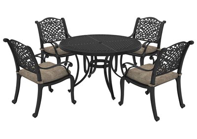 Burnella Brown Round Dining Table w/4 Rose View Chair Cushion