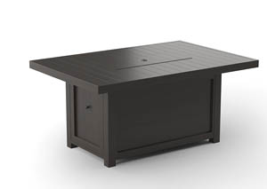 Cordova Reef Dark Brown Rectangular Fire Pit Table