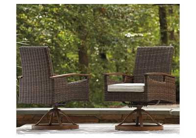 Image for Paradise Trail Brown Swivel Chair with Cushion (Set of 2)