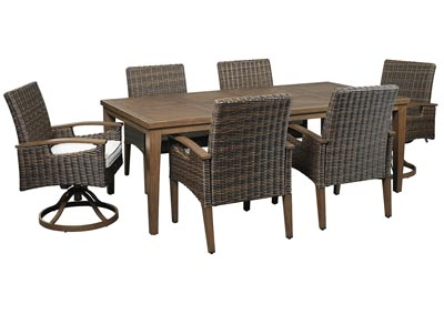 Paradise Trail Brown Dining Table w/4 Armed Chairs & 2 Swivel Chairs