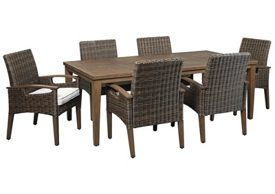 Paradise Trail Brown Dining Table w/6 Armed Chairs