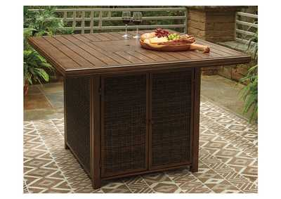 Image for Paradise Trail Brown Bar Table w/Fire Pit