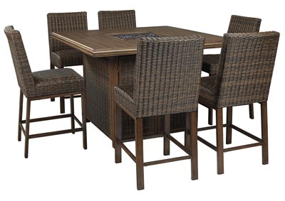 Paradise Trail Brown Bar Table w/6 Barstools
