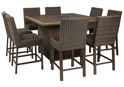 Paradise Trail Brown Bar Table w/8 Barstools