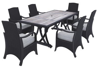Marsh Creek Brown Dining Table w/6 Armed Chairs