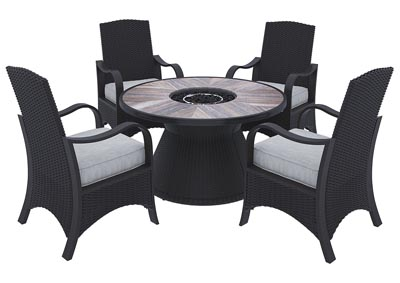 Marsh Creek Brown Fire Pit Table w/4 Armed Chairs