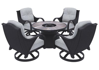 Marsh Creek Brown Fire Pit Table w/4 Swivel Chairs