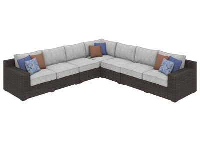 Alta Grande Beige/Brown Sectional w/Fireplace Table