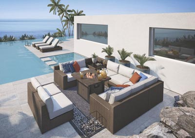 Alta Grande Beige/Brown Outdoor Seating Set