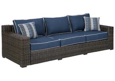 Image for Grasson Lane Brown/Blue Sofa with Cushion