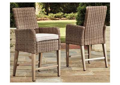Beachcroft Beige Bar Stool with Cushion (Set of 2)