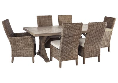 Beachcroft Beige Dining Table w/4 Side Chairs & 2 Armed Chairs