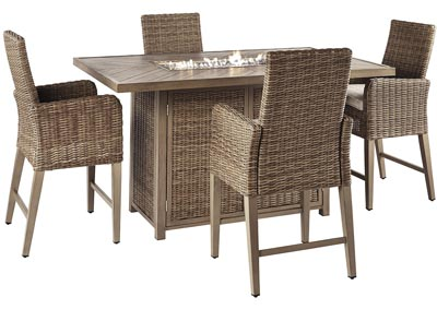 Beachcroft Beige Bar Table w/4 Bar Stools