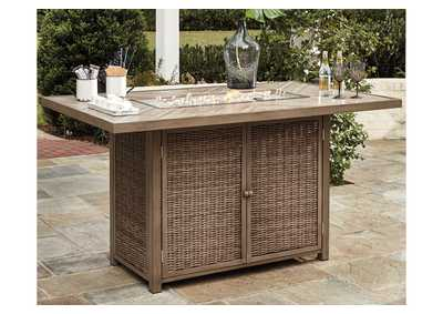 Beachcroft Beige Bar Table w/Fire Pit