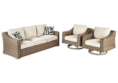 Image for Beachcroft Beige Sofa w/2 Swivel Chairs