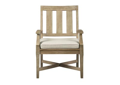 Clare View Beige Arm Chair with Cushion (Set of 2)