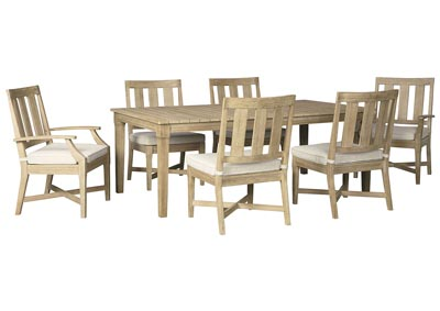 Clare View Beige Dining Table w/4 Chairs & 2 Arm chairs