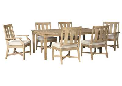 Image for Clare View Beige Dining Table w/Umbrella Option, 4 Chair, 2 Arm Chair