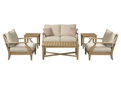 Clare View Beige 6 Piece Loveseat Chat Set