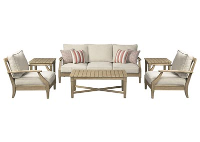 Clare View Beige 6 Piece Sofa Chat Set