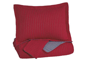 Dansby Red/Gray Full Coverlet Set