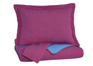 Dansby Magenta/Aqua Full Coverlet Set