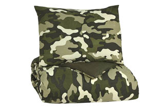Dagon Khaki/Tan/Green Twin Comforter Set
