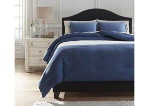 Aracely Blue Queen Comforter Set