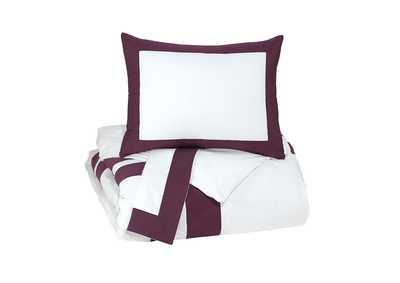 Daruka Plum Queen Duvet Cover Set