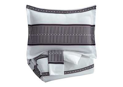 Masako Black/White Queen Comforter Set