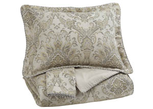 Amil Ivory/Gold Queen Comforter Set