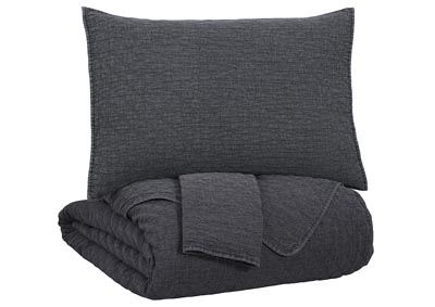 Ryter Charcoal King Coverlet Set