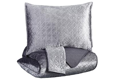 Maryam Grey King Coverlet Set