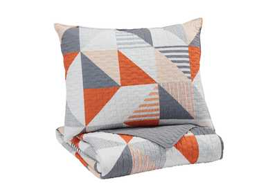 Image for Layne Gray/Orange Twin Coverlet Set