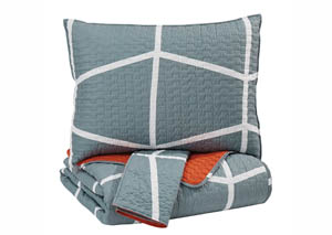 Gage Gray/Orange Full Coverlet Set