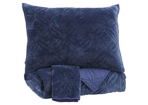 Linette Blue Queen Quilt Set