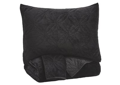 Linette Black Queen Quilt Set